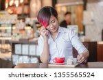short hair and purple hair she... | Shutterstock . vector #1355565524