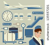 airport themed set  with... | Shutterstock .eps vector #135557201