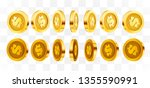 3d gold isolated coins set.... | Shutterstock .eps vector #1355590991
