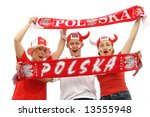 three young polish soccer fans... | Shutterstock . vector #13555948