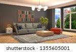 interior of the living room. 3d ... | Shutterstock . vector #1355605001