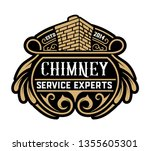 vintage chimney logo. vector... | Shutterstock .eps vector #1355605301