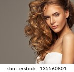 fashion photo of blonde beauty... | Shutterstock . vector #135560801