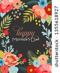 mothers day greeting card with... | Shutterstock .eps vector #1355618927