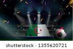 fans hold the flag of algeria... | Shutterstock .eps vector #1355620721