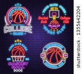set of basketball club neon... | Shutterstock .eps vector #1355642204