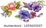 blue purple bouquet floral... | Shutterstock . vector #1355653337