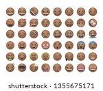 set of chocolate emoticon... | Shutterstock .eps vector #1355675171