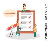 checklist concept. people make... | Shutterstock .eps vector #1355723474