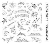 australia sketches vector... | Shutterstock .eps vector #1355750711