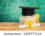 graduation mortarboard on top... | Shutterstock . vector #1355777114