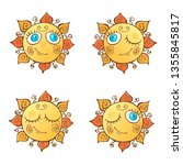 a set of cheerful suns in... | Shutterstock .eps vector #1355845817
