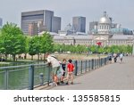 MONTREAL, CA- JUNE 09: Downtown Montreal Architecture, and Lifestyle on June 09 , 2010 in Montreal,CA Montreal has prominent buildings in a variety of styles by many famous architects - stock photo