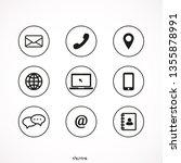 contact icon set vector line | Shutterstock .eps vector #1355878991