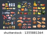 food set. collection of various ... | Shutterstock .eps vector #1355881364