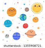 cute planets of solar system... | Shutterstock .eps vector #1355908721