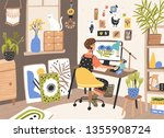 female graphic designer ... | Shutterstock .eps vector #1355908724