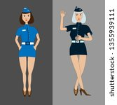two girls stewardess in light... | Shutterstock .eps vector #1355939111