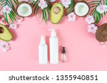 bottle of soap on tropical... | Shutterstock . vector #1355940851