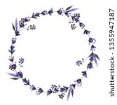 watercolor floral wreaths with... | Shutterstock . vector #1355947187