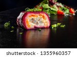 Stock photo layered salad with herring beets carrots onions potatoes and eggs close up herring under a fur 1355960357