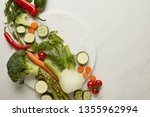 flat lay with whole and cut... | Shutterstock . vector #1355962994
