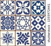 blue portuguese tiles pattern   ... | Shutterstock .eps vector #1355972441