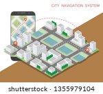 city map route navigation... | Shutterstock .eps vector #1355979104