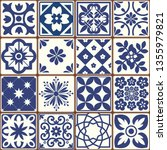 blue portuguese tiles pattern   ... | Shutterstock .eps vector #1355979821