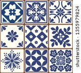 blue portuguese tiles pattern   ... | Shutterstock .eps vector #1355979824