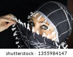 arab lady from afghanistan with ... | Shutterstock . vector #1355984147