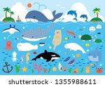 sea creatures illustration set | Shutterstock .eps vector #1355988611