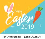 cute easter bunny ears with... | Shutterstock .eps vector #1356002504