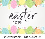 cute easter bunny ears with... | Shutterstock .eps vector #1356002507