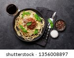spaghetti bolognese pasta with... | Shutterstock . vector #1356008897