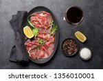 marbled beef carpaccio with... | Shutterstock . vector #1356010001