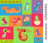 baby dragons psattern vector... | Shutterstock .eps vector #1356039401