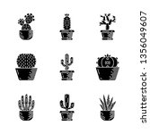 cactuses in pots glyph icons... | Shutterstock .eps vector #1356049607