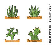 wild cacti in ground color...   Shutterstock .eps vector #1356049637