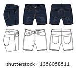 jeans shorts vector template... | Shutterstock .eps vector #1356058511