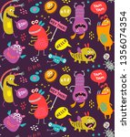 seamless pattern with monsters | Shutterstock .eps vector #1356074354