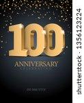 anniversary 100. gold 3d... | Shutterstock .eps vector #1356123224