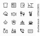 restaurant icons with white... | Shutterstock .eps vector #135612851