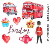 watercolor set with london... | Shutterstock . vector #1356136214