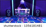 karaoke club with stage and... | Shutterstock .eps vector #1356181481