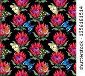 seamless pattern. protea branch.... | Shutterstock . vector #1356181514