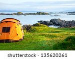 Camping Tent On An Ocean Shore...