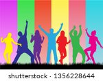dancing people silhouettes....   Shutterstock .eps vector #1356228644