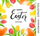 happy easter card with eggs ... | Shutterstock .eps vector #1356237101