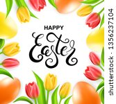 happy easter card with eggs ... | Shutterstock .eps vector #1356237104